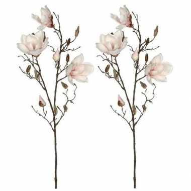 Hobby x licht roze magnolia/beverboom kunsttak kunstplant