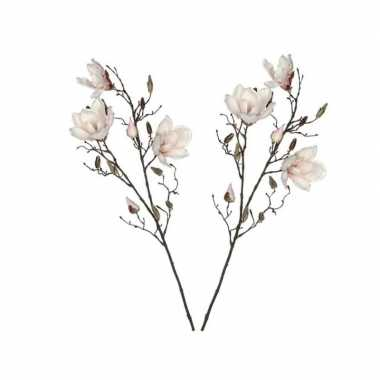 Hobby x licht roze magnolia/beverboom kunsttakken kunstplanten