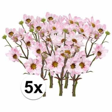 Hobby x licht roze margriet kunstbloemen tak