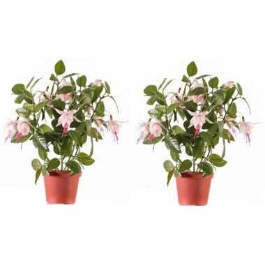 Hobby x lichtroze fuchsiaplant kunstplanten binnen