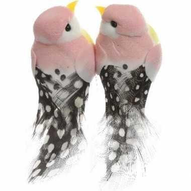 Hobby x lichtroze vogels decoraties draad