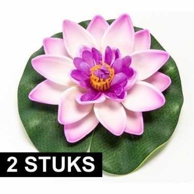 Hobby x lila paarse lotus/waterlelies kunstbloemen