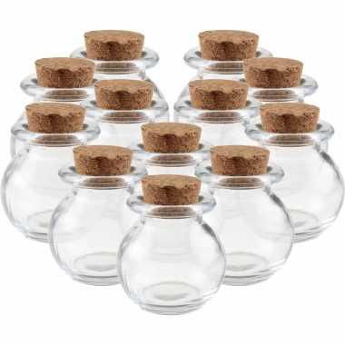 Hobby x mini glazen ronde flesjes/potjes , kurk dop