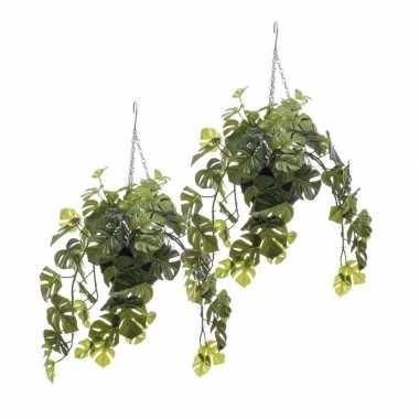 Hobby x monstera/gatenplanten kunstplanten hangende pot