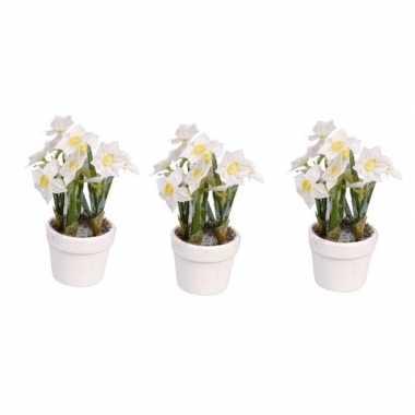Hobby x narcissen kunstbloemen witte pot
