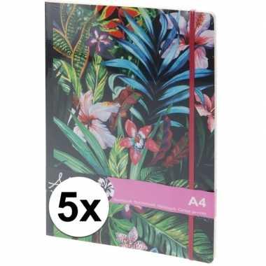 Hobby x notitieboekjes/schriften tropische elastiek a