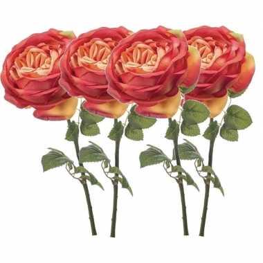 Hobby x oranje rozen kunstbloemen