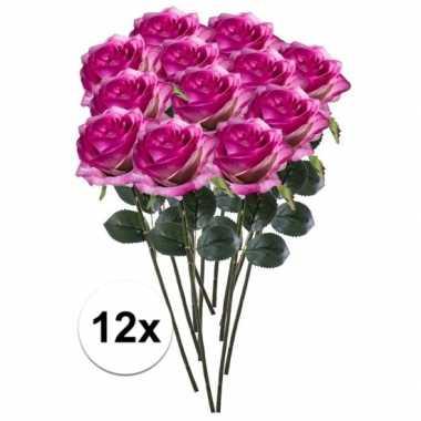 Hobby x paars/roze rozen simone kunstbloemen