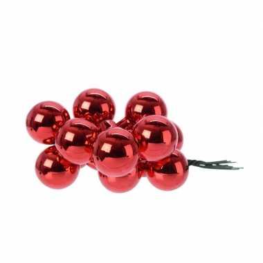 Hobby x rode mini kerstballen kerststukje stekers glans