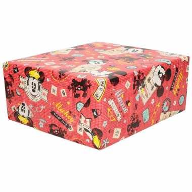 Hobby x rollen inpakpapier/cadeaupapier disney mickey mouse rood x