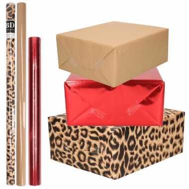 Hobby x rollen kraft inpakpapier pakket dieren/metallic rood bruin /