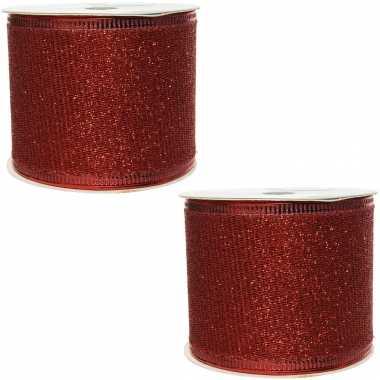 Hobby x rolletjes rood glitter lint/gaas