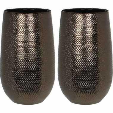 Hobby x ronde vazen/bloempotten gabriel brons/keramiek