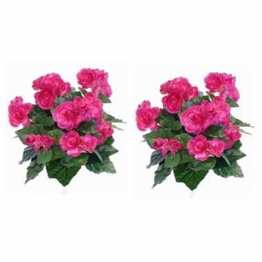 Hobby x roze begonia kunstplant binnen