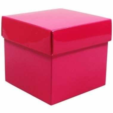 Hobby x roze cadeaudoosjes vierkant