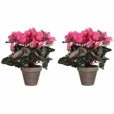 Hobby x roze cyclaam kunstplanten grijze pot