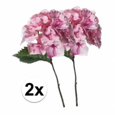 Hobby x roze hortensia kunstbloemen tak