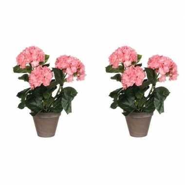 Hobby x roze hydrangea/hortensia kunstplanten grijze pot