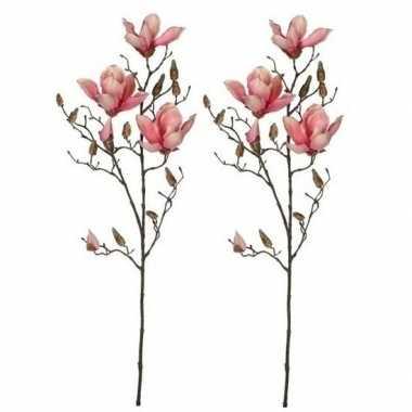 Hobby x roze magnolia/beverboom kunsttak kunstplant