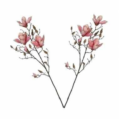 Hobby x roze magnolia/beverboom kunsttakken kunstplanten