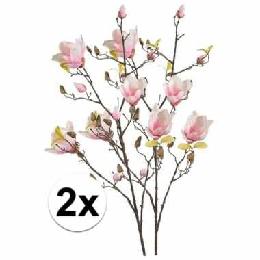 Hobby x roze magnolia kunstbloemen tak