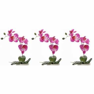 Hobby x roze orchidee/phalaenopsis kunstplant binnen