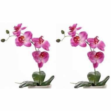 Hobby x roze orchidee/phalaenopsis kunstplanten binnen