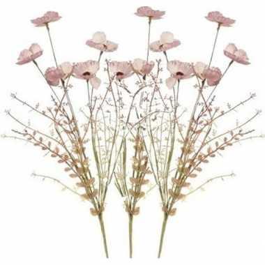 Hobby x roze papaver/klaproos gedroogde kunstbloemen