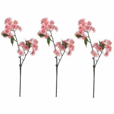 Hobby x roze prunus serrulata/kersenbloesem kunsttak kunstplant
