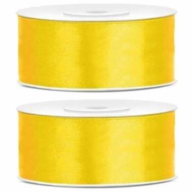 Hobby x satijn sierlint rollen geel mm