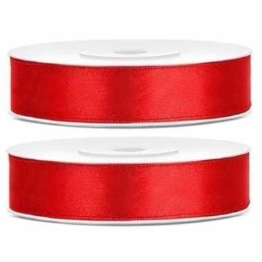 Hobby x satijn sierlint rollen rood mm