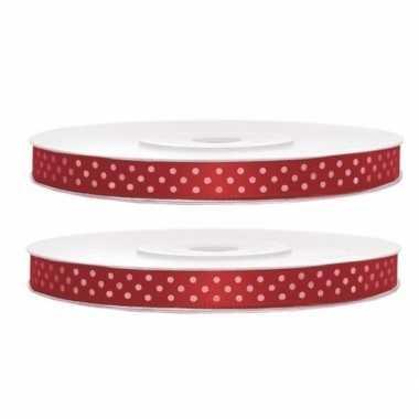 Hobby x satijn sierlint rollen rood witte stippen mm