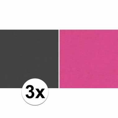 Hobby x schoolboeken kaftpapier zwart roze rollen