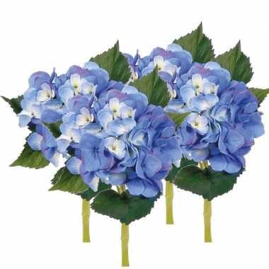 Hobby x stuks blauwe hortensia kunstbloemen steel