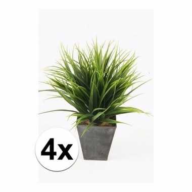 Hobby x stuks grass bush kunstplanten zinken pot