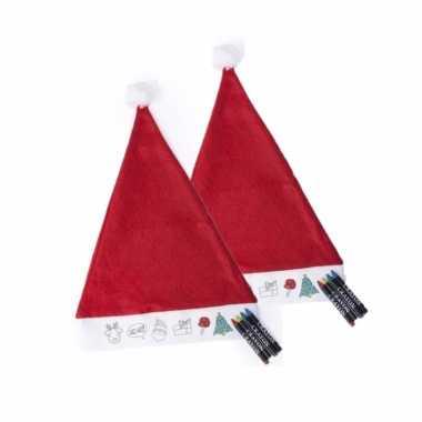 Hobby x stuks inkleurbare kerstmuts kinderen