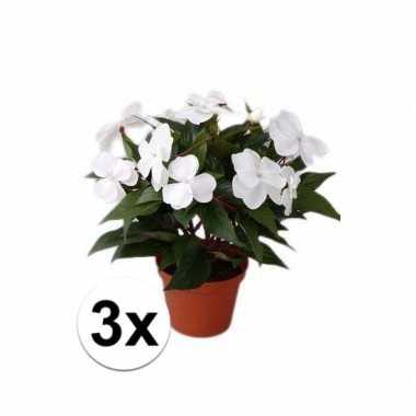 Hobby x stuks kunstplanten wit vlijtig liesje pot