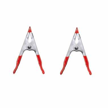 Hobby x stuks lijmklemmen / zeilklemmen plaatstaal rode kunststof greep
