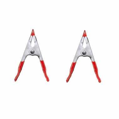 Hobby x stuks lijmtangen / zeilklemmen plaatstaal rode kunststof greep .