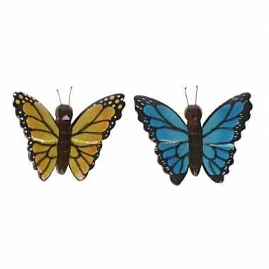Hobby x vlinder magneten geel blauw hout