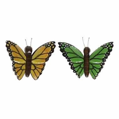 Hobby x vlinder magneten geel groen hout