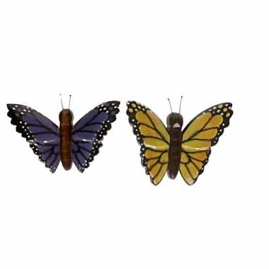 Hobby x vlinder magneten geel paars hout