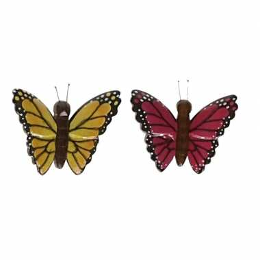 Hobby x vlinder magneten geel roze hout