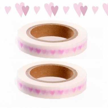 Hobby x washi tape roze hartjes