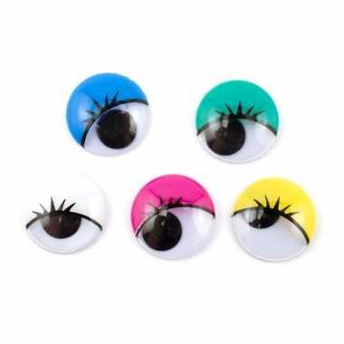 Hobby x wiebel oogjes/googly eyes gekleurd wimpers mm zelfklevend