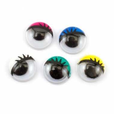 Hobby x wiebel oogjes/googly eyes gekleurd wimpers zelfklevend mm
