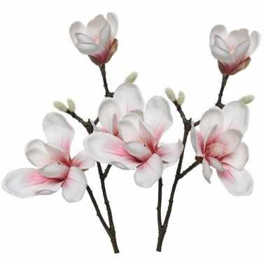 Hobby x witte/roze magnolia/beverboom kunsttakken kunstplanten