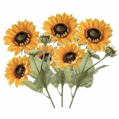 Hobby x zonnebloemen kunstbloemen takken bloemen geel 10139544