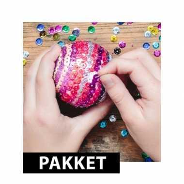 Hobby zelf pailletten kerstballen maken set