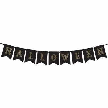 Hobby zwarte halloween diy banner vlaggenlijn/slinger